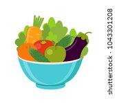 vegan  vegetarian. vector... | Shutterstock .eps vector #1043301208