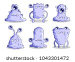 sad cartoon monsters.  vector... | Shutterstock .eps vector #1043301472