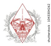 skull contour sketch for tattoo ... | Shutterstock .eps vector #1043304262