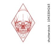 skull contour sketch for tattoo ... | Shutterstock .eps vector #1043304265