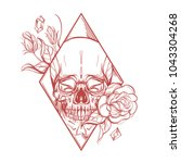 skull contour sketch for tattoo ... | Shutterstock .eps vector #1043304268