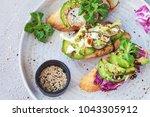 bruschetta with lettuce ... | Shutterstock . vector #1043305912