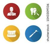 dentistry flat design long... | Shutterstock .eps vector #1043309536
