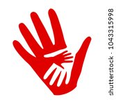 three hands on hands  charity... | Shutterstock .eps vector #1043315998