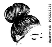 woman with stylish classic bun... | Shutterstock .eps vector #1043318236