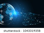 global network connection  hand ... | Shutterstock .eps vector #1043319358