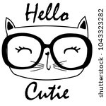 Cute Cat Vector.t Shirt Print....