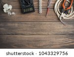 tools for electricians. on a... | Shutterstock . vector #1043329756