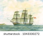 tall ship watercolor painting ... | Shutterstock . vector #1043330272