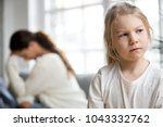 sulky angry offended child girl ... | Shutterstock . vector #1043332762