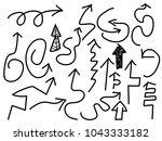doodle black arrows set  | Shutterstock .eps vector #1043333182