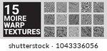 set of 15 moire waves warped... | Shutterstock .eps vector #1043336056
