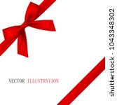 red bow with diagonally ribbon... | Shutterstock .eps vector #1043348302