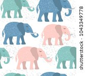 childish seamless pattern with... | Shutterstock .eps vector #1043349778