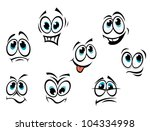 comics cartoon faces set with... | Shutterstock . vector #104334998
