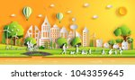 paper art style of landscape in ... | Shutterstock .eps vector #1043359645