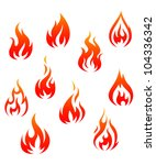 set of fire flames isolated on...   Shutterstock . vector #104336342