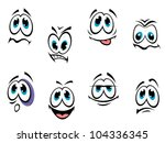 comics cartoon faces set with... | Shutterstock . vector #104336345
