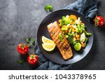 grilled salmon fillet with... | Shutterstock . vector #1043378965