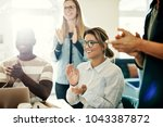 group of diverse work... | Shutterstock . vector #1043387872