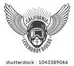 head of the rider in helmet and ... | Shutterstock .eps vector #1043389066
