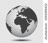 gray globes with continents  ... | Shutterstock .eps vector #1043390422