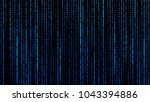 a stream of binary matrix code... | Shutterstock .eps vector #1043394886