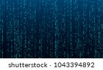 a stream of binary matrix code... | Shutterstock .eps vector #1043394892