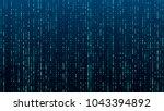 a stream of binary matrix code... | Shutterstock .eps vector #1043394892