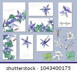aquilegia set with visitcards... | Shutterstock .eps vector #1043400175