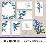 scilla set with visitcards and... | Shutterstock .eps vector #1043400178