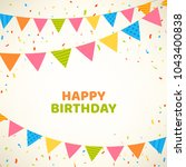 happy birthday card with... | Shutterstock .eps vector #1043400838