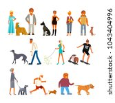 Stock photo people walking with different breeds of dogs set isolated on white background rastered copy 1043404996