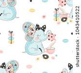 fancy cute elephant drinking... | Shutterstock .eps vector #1043410522