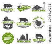 american farm badge or label.... | Shutterstock .eps vector #1043414275