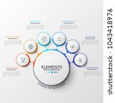 six round elements with thin...   Shutterstock .eps vector #1043418976