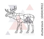 scandinavian moose  side view.... | Shutterstock .eps vector #1043419012