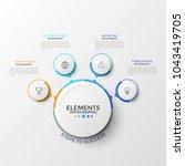 four paper white circular... | Shutterstock .eps vector #1043419705