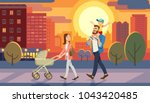 Stock vector family walking with baby car at city sunset father holding son on his shoulders fun lifestyle of 1043420485