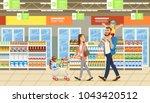 family shopping in supermarket... | Shutterstock .eps vector #1043420512
