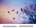 black crows in the sky | Shutterstock . vector #1043422345