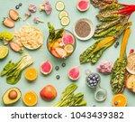 healthy food ingredients flat... | Shutterstock . vector #1043439382