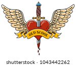 red heart with wings pierced... | Shutterstock .eps vector #1043442262