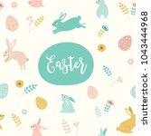 happy easter. vector template... | Shutterstock .eps vector #1043444968