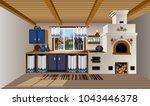 interior of russian village... | Shutterstock .eps vector #1043446378