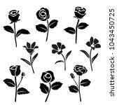 vector silhouettes of flowers ... | Shutterstock .eps vector #1043450725