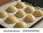 the homemade bread rolls with... | Shutterstock . vector #1043450902