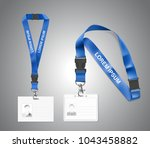 set of lanyard with id card.... | Shutterstock .eps vector #1043458882