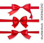 set of wrapped red bows and... | Shutterstock .eps vector #1043462242