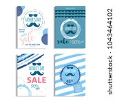 happy father's day sale. set of ... | Shutterstock .eps vector #1043464102